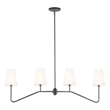 Berkshire Linear Pendant - Oil-Rubbed Bronze with Linen Shades