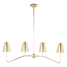 Berkshire Linear Pendant - Aged Brass with Metal Shades