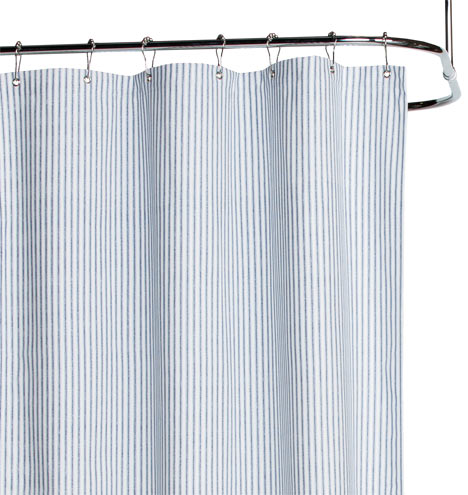 Blue Ticking Cotton Duck Cloth Shower Curtain