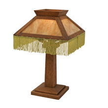 Mission Style Table Lamp w/ Slag Glass and Beaded Fringe c1910