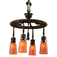 Extraordinary Classical Revival 4-Light Chandelier W/ Nuart Carnival Glass Shades C1925