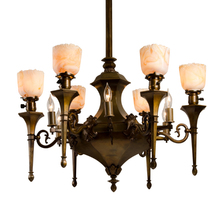 Stunning 12-Light Classical Revival Torch Chandelier c1900