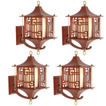 Set of 4 Chinese-Themed Cast Wall Lanterns  c1950s