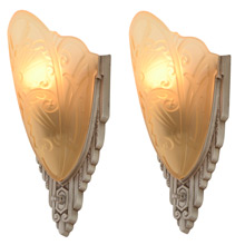 Pair of Medieval Line Slipper Sconces by Lincoln c1934