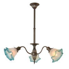 Transitional 3-Light Fixture w/ Blue Ruffled Shades c1915