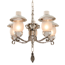 Colonial Revival Strap and Smoke Bell Chandelier c1935