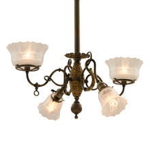 Stunning 4-Light Empire Gas-Electric Chandelier c1905