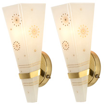Pair of Mid-Century Starlight Wall Sconces c1958