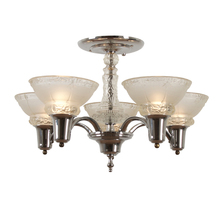 Transitional 5-Light Cup Semi-Flush Chandelier c1948