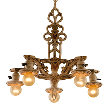 Lovely 5-Drop Polychrome Chandelier c1928