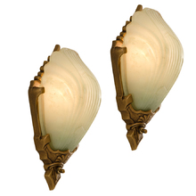 Pair of Art Deco Sconces w/ Green Slipper Shades c1928