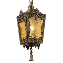 Ornate Brass Entry Pendant w/ Textured Yellow Glass c1925