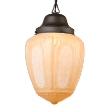 Classical Revival Pendant w Painted Moulded Shade c1928