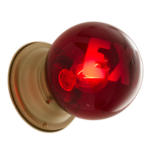 Red Exit Globe w/ Etched Text c1930